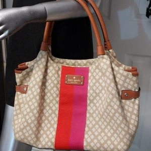 ♠️kate spade ♠️orange, pink, tan handbag